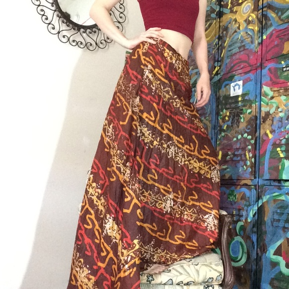 Vintage Dresses & Skirts - Vintage Zinat Sara Iran Tye Dye SILK Maxi Skirt